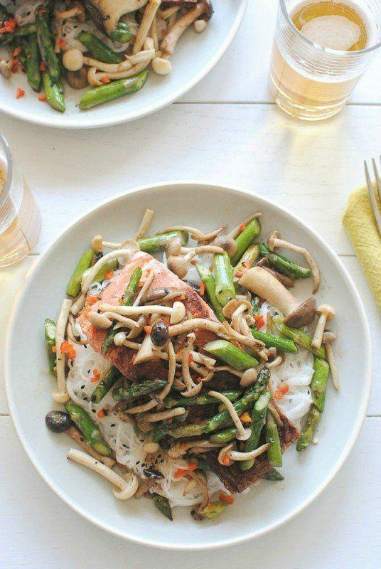 """<strong>Get the <a href=""""http://bevcooks.com/2013/03/seared-salmon-with-mushrooms-and-asparagus-over-coconut-noodles/"""" rel=""""nofollow noopener"""" target=""""_blank"""" data-ylk=""""slk:Seared Salmon With Mushrooms And Asparagus Over Coconut Noodles recipe"""" class=""""link rapid-noclick-resp"""">Seared Salmon With Mushrooms And Asparagus Over Coconut Noodles recipe</a>&nbsp;from Bev Cooks</strong>"""