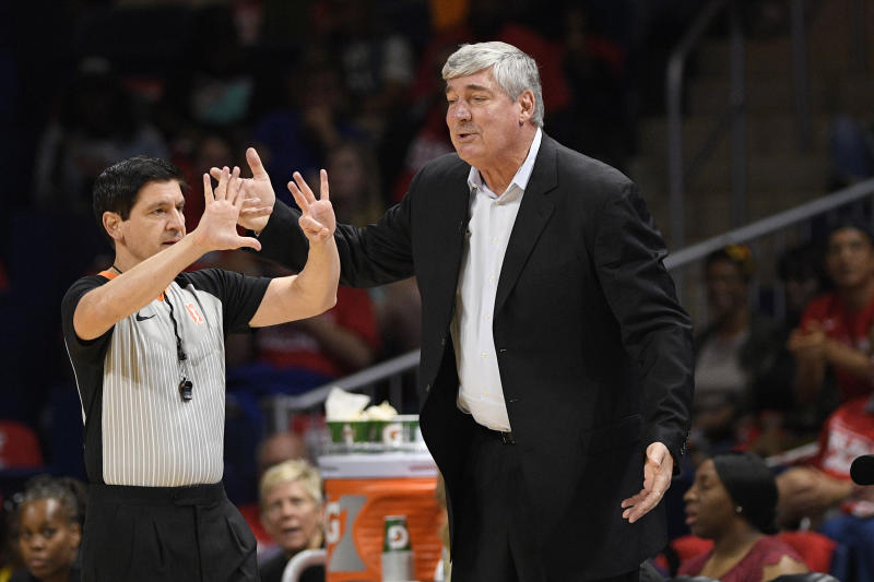 Las Vegas Aces coach Bill Laimbeer, right, gestures to an official during the second half of Game 1 of the team's WNBA playoff basketball series against the Washington Mystics, Tuesday, Sept. 17, 2019, in Washington. The Mystics won 97-95. (AP Photo/Nick Wass)