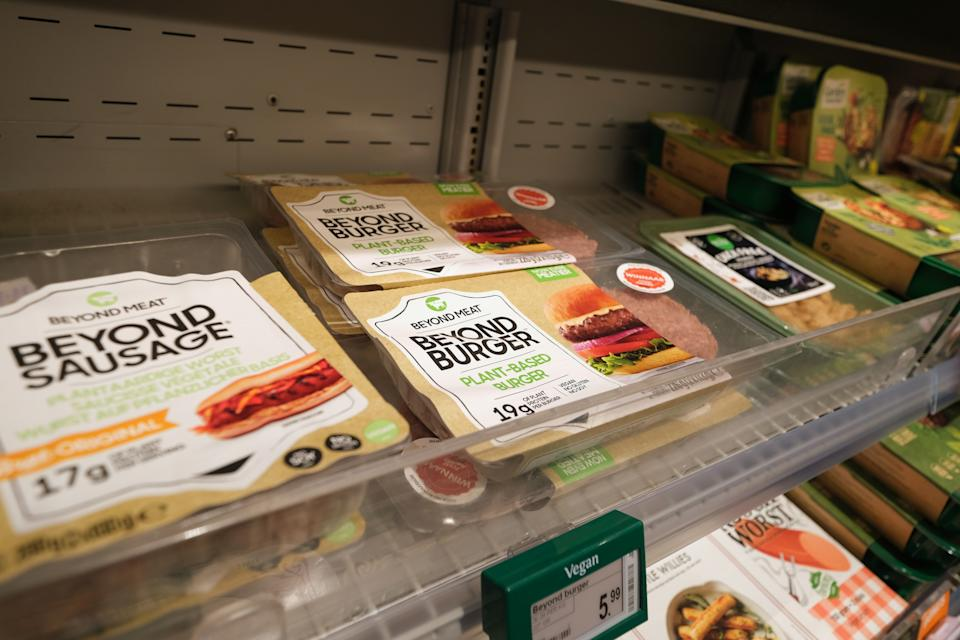 KATWIJK, NETHERLANDS - NOVEMBER 19: Packages of Beyond Meat Inc.'s plant based meat products, Beyond Burger and Beyond Sausage, are displayed at a supermarket on November 19, 2020 in Katwijk, Netherlands (Photo by Yuriko Nakao/Getty Images)