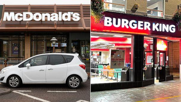 PHOTO: In this March 18, 2020, file photo, a McDonald's restaurant is shown in Cardiff, Wales. | A Burger King restaurant sits empty on Oct. 24, 2020, in Cardiff, Wales.  (Matthew Horwood/Getty Images, FILE  )