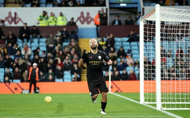 Sergio Aguero became the leading foreign goalscorer in the Premier League after his hat-trick against Aston Villa (Nick Potts/PA)