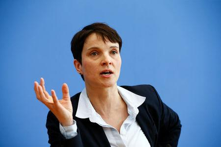 FILE PHOTO: Frauke Petry, chairwoman of the anti-immigration party Alternative for Germany (AfD) speaks during a news conference in Berlin, Germany, March 14, 2016.     REUTERS/Wolfgang Rattay /File Photo