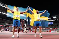 <p>TOKYO, JAPAN - JULY 31: Daniel Stahl of Team Sweden and Simon Pettersson of Team Sweden celebrate after winning the gold and silver medal in Men's Discus Throw Final on day eight of the Tokyo 2020 Olympic Games at Olympic Stadium on July 31, 2021 in Tokyo, Japan. (Photo by Maja Hitij/Getty Images)</p>