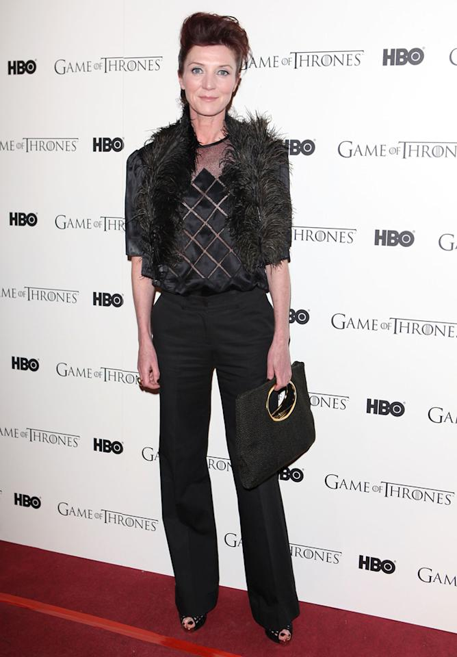 "Michelle Fairley attends the ""<span style=""text-decoration:underline;""></span><a target=""_blank"" href=""http://tv.yahoo.com/game-of-thrones/show/41208"">Game of Thrones</a>"" Season 1 DVD premiere at Old Vic Tunnels on February 29, 2012 in London, England."