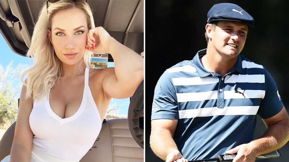 Instagram golfing sensation Paige Spiranac (pictured left) posing in a golf cart and golfer Bryson DeChambeau (pictured right) smiling after a shot.