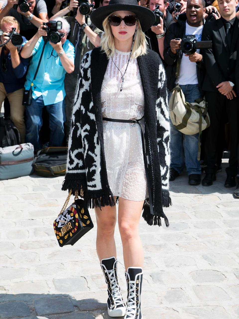 Ever the fashionista, she later changed into this outfit for their Haute Couture Fall/Winter show.