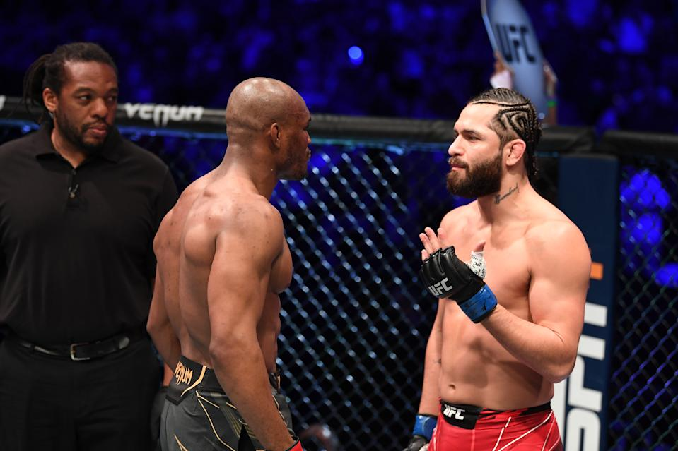 JACKSONVILLE, FLORIDA - APRIL 24: (L-R) Kamaru Usman of Nigeria and Jorge Masvidal face off prior to their UFC welterweight championship bout during the UFC 261 event at VyStar Veterans Memorial Arena on April 24, 2021 in Jacksonville, Florida. (Photo by Josh Hedges/Zuffa LLC)