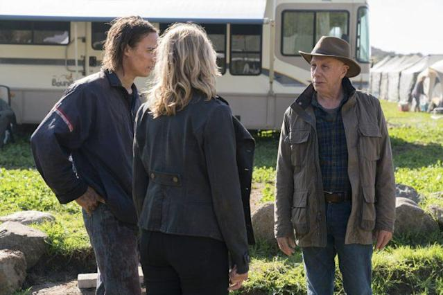 Kim Dickens as Madison Clark, Frank Dillane as Nick Clark and Dayton Callie as Jeremiah Otto in AMC's 'Fear the Walking Dead' (Photo Credit: Michael Desmond/AMC)