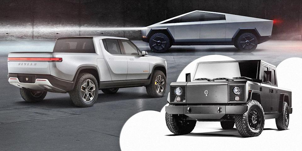Photo credit: Rivian, Tesla, Bollinger - Car and Driver