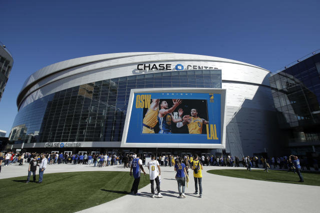 The Warriors will play Thursday's home game against the Nets with no fans in attendance. (AP Photo/Jeff Chiu)