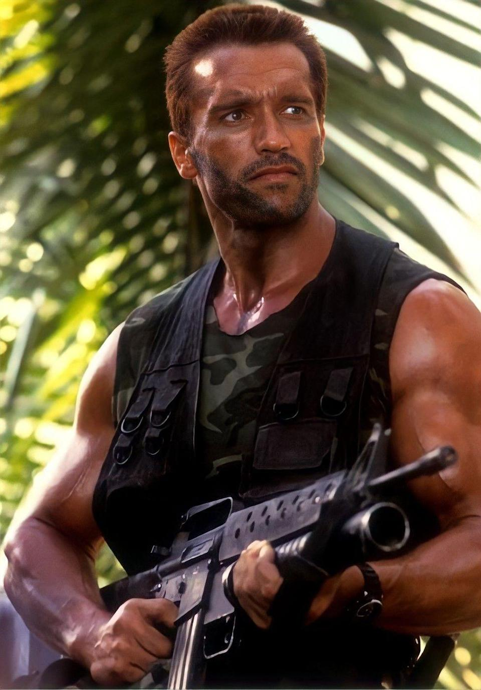 """<p>The 1987 sci-fi horror thriller gave us Arnold Schwarzenegger as Major Alan """"Dutch"""" Schafer in a wild and terrifying face off against Predator, an alien being who hunts Dutch and his team for nothing more than sport. <em>Predator</em> was the first installment of four existing movies (a fifth flick was announced in November 2020) and showed us how a beefed up human measured up against an equally beefed up monster. Physical power aside, Dutch's fearlessness and quick smarts—<em>figuring out mud could camouflage his heat signature? Genius!</em>—help him ultimately defeat Predator and make it out alive.</p>"""