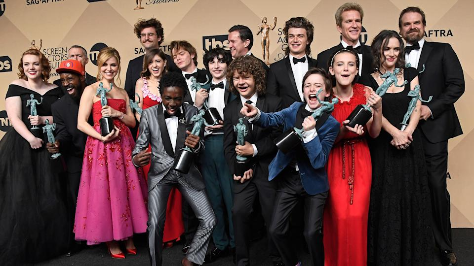 LOS ANGELES, CA - JANUARY 29:  'Stranger Things,' cast members, recipients of the Outstanding Performance by an Ensemble in a Drama Series award, pose in the press room during The 23rd Annual Screen Actors Guild Awards at The Shrine Auditorium on January 29, 2017 in Los Angeles, California.
