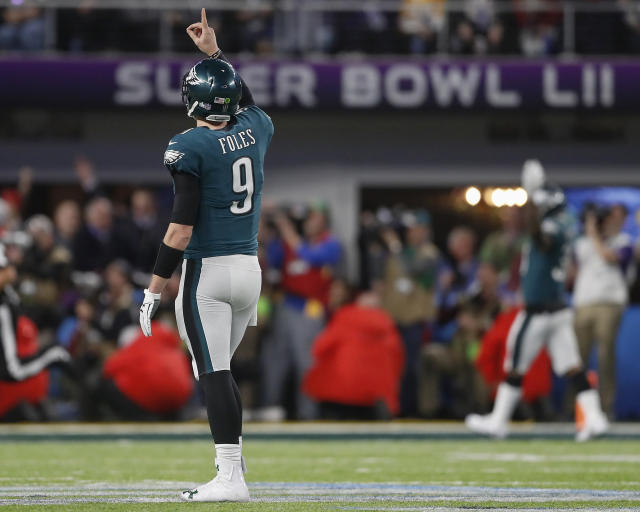<p>Philadelphia Eagles quarterback Nick Foles celebrates a touchdown pass to Zach Ertz during the second half of the NFL Super Bowl 52 football game against the New England Patriots Sunday, Feb. 4, 2018, in Minneapolis. (AP Photo/Jeff Roberson) </p>