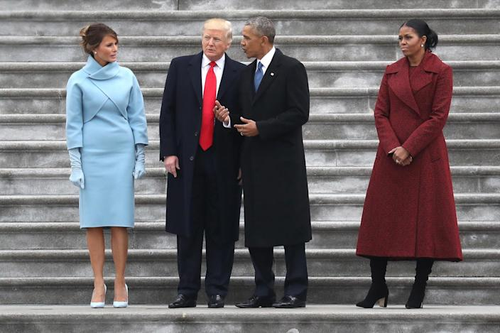 <p>President Donald Trump and former president Barack Obama stand on the steps of the U.S. Capitol with First Lady Melania Trump and Michelle Obamal on January 20, 2017 in Washington, DC. (Photo: Rob Carr/Getty Images) </p>