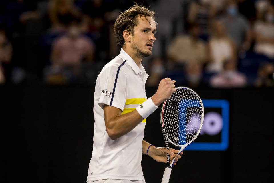 MELBOURNE, VIC - FEBRUARY 19: Daniil Medvedev of Russia celebrates after winning his match during the semifinals of the 2021 Australian Open on February 19 2021, at Melbourne Park in Melbourne, Australia. (Photo by Jason Heidrich/Icon Sportswire via Getty Images)