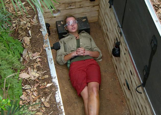Helen lasts four seconds on her first of many Bushtucker trials. [REX]