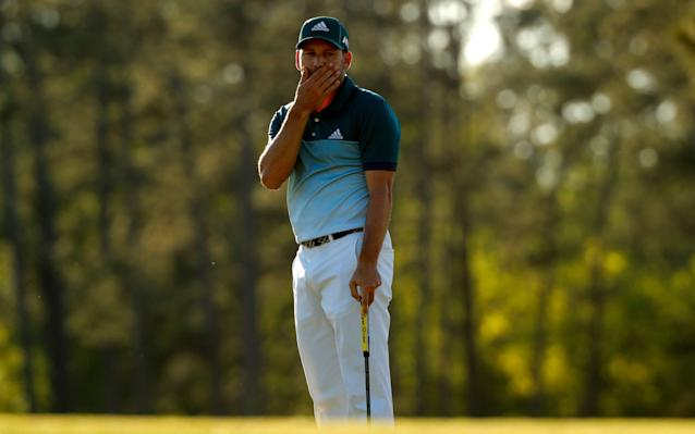 <span>Sergio Garcia of Spain watches his putt on the 17th green in final round play during the 2017 Masters</span> <span>Credit: JONATHAN ERNST/Reuters </span>