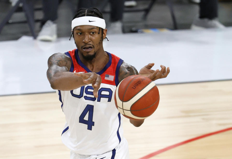 LAS VEGAS, NEVADA - JULY 10:  Bradley Beal #4 of the United States passes against Nigeria during an exhibition game at Michelob ULTRA Arena ahead of the Tokyo Olympic Games on July 10, 2021 in Las Vegas, Nevada. Nigeria defeated the United States 90-87.  (Photo by Ethan Miller/Getty Images)