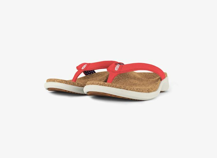 """<p>yoursole.com</p><p><strong>$40.00</strong></p><p><a href=""""https://yoursole.com/us/shop/womens/footwear/casual-flips/petal"""" rel=""""nofollow noopener"""" target=""""_blank"""" data-ylk=""""slk:Shop Now"""" class=""""link rapid-noclick-resp"""">Shop Now</a></p><p>Raise a glass to comfortable shoes. The supportive cork footbed on these sandals is made from recycled wine corks! </p>"""