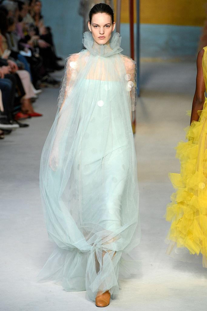 <p>A sheer pastel-blue gown at the Roksanda FW18 show. (Photo: Getty) </p>