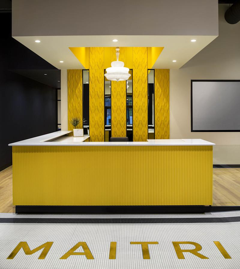 The reception desk at Maitri Medicinals in Pennsylvania, another High Road Studio project.