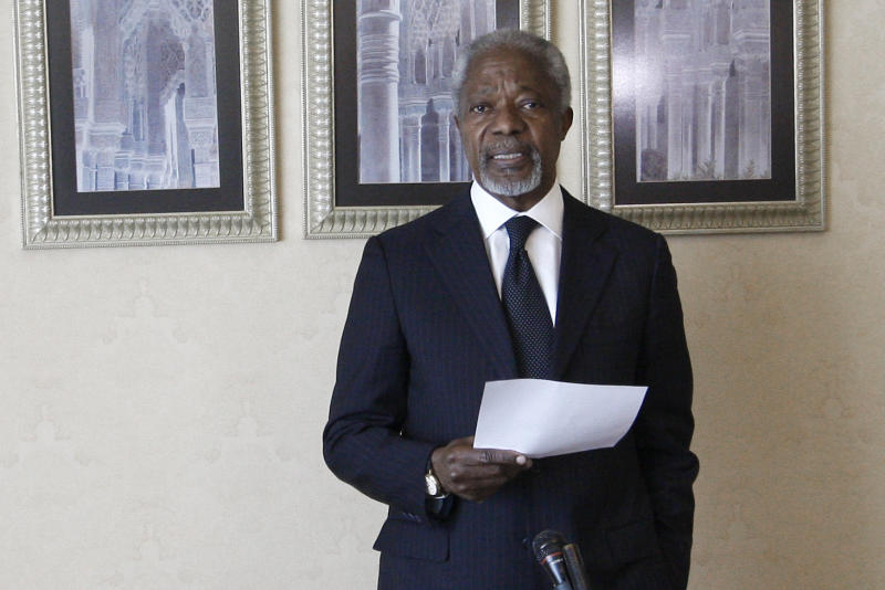 United Nations envoy Kofi Annan speaks during a press conference in Damascus, Syria, Sunday, March 11, 2012. Annan will hold a second meeting with the country's President Bashar Assad on Sunday to discuss proposals for stopping violence and starting a political dialogue, a U.N. official in Damascus said. (AP Photo/Muzaffar Salman)