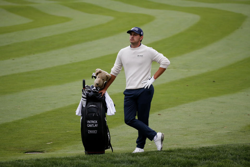 Patrick Cantlay waits on the 16th fairway during the final round of the Zozo Championship golf tournament Sunday, Oct. 25, 2020, in Thousand Oaks, Calif. (AP Photo/Ringo H.W. Chiu)