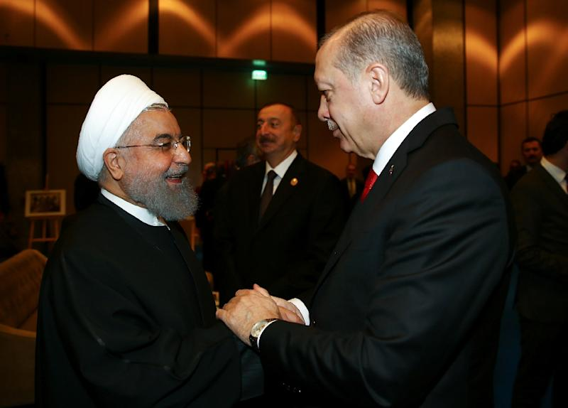Iran's President Hassan Rouhani, whose country does not recognise Israel, was among the leaders attending the Istanbul meeting (AFP Photo/KAYHAN OZER)