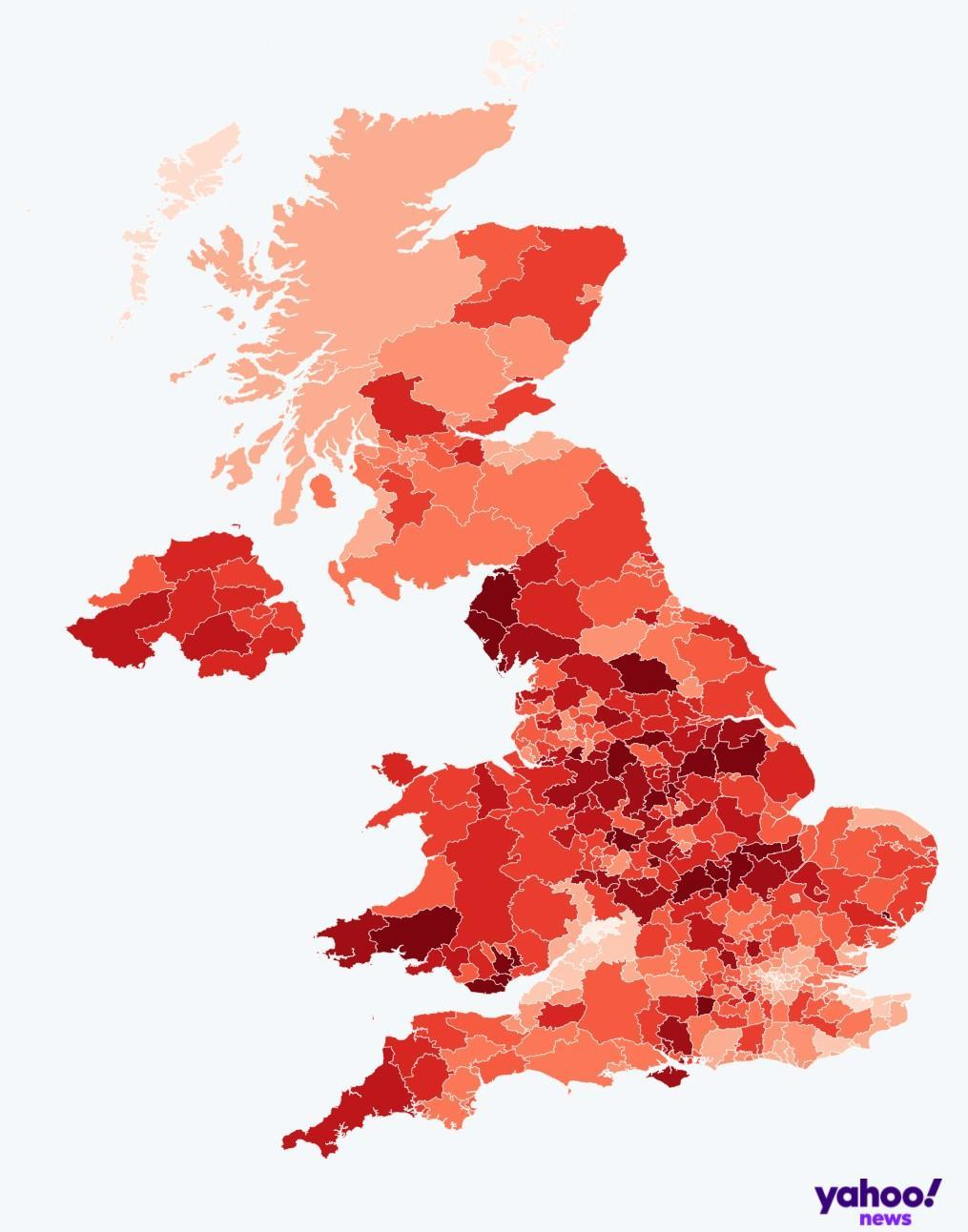 Map of COVID infection rates by local authority. (Yahoo)