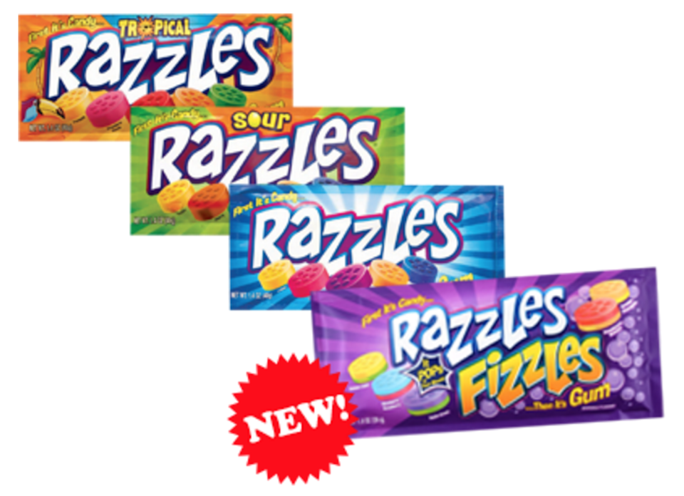 """<p><strong>Razzles</strong></p><p>These babies are the best of both worlds: candy <em>and</em> gum, a combination that mystifies children. While they were <a href=""""http://www.tootsie.com/candy/razzles/razzles"""" rel=""""nofollow noopener"""" target=""""_blank"""" data-ylk=""""slk:only offered in raspberry in 1966"""" class=""""link rapid-noclick-resp"""">only offered in raspberry in 1966</a>, today Razzles are available in a wide variety of flavors, including Gushin' Grape, Luscious Lemon, and Tangerine Orange. </p>"""