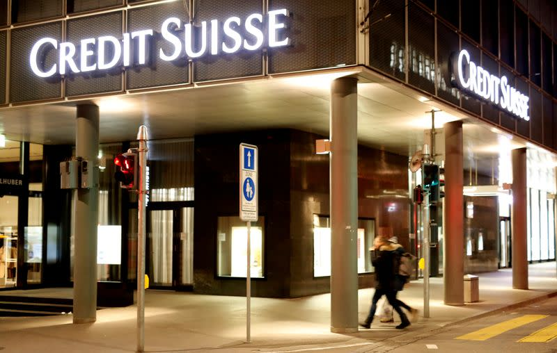 FILE PHOTO: Logo of Swiss bank Credit Suisse is seen in Basel