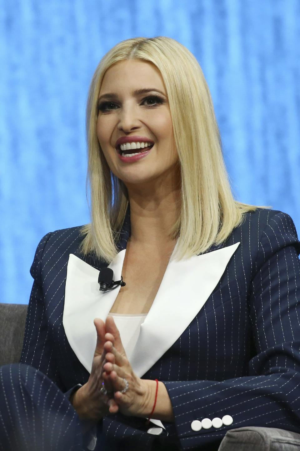 Ivanka Trump, the daughter and senior adviser to U.S. President Donald Trump, answers a question as she is interviewed at the Consumer Technology Association Keynote during the CES tech show Tuesday, Jan. 7, 2020, in Las Vegas. (AP Photo/Ross D. Franklin)