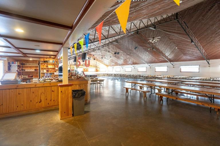 """The restaurant at the Constantin Gregoire Sugar shack is seen empty in Saint-Esprit, Quebec on March 31, 2020.""""For me, this represents a shortfall of between 80,000 and 100,000 dollars,"""" laments Simon Lanoue, a maple syrup producer in Canada's Quebec province hit hard by measures to slow the spread of the new coronavirus"""