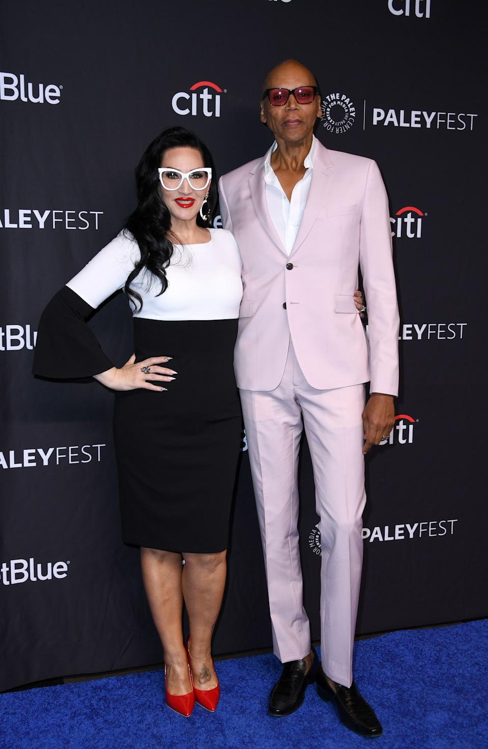 Michelle Visage (L) and Host and Executive producer RuPaul Charles arrive for the PaleyFest Presentation of VH1's RuPaul's Drag Race at the Dolby Theatre. (Photo by VALERIE MACON / AFP via Getty Images)