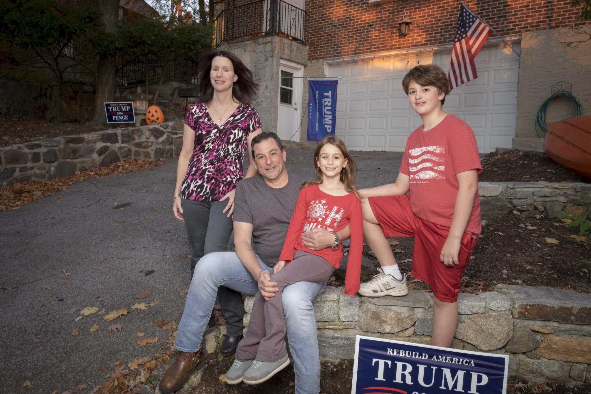 Trump supporter Chris Fresiello with his wife GiGi and kids at their New York home on November 17, 2016. (Photo: David Scott Holloway for Yahoo News)