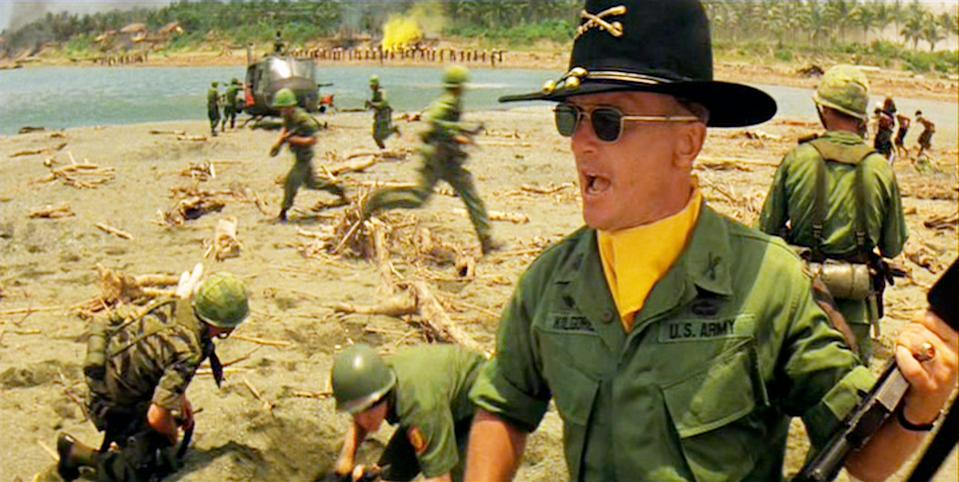 """LOS ANGELES - AUGUST 15: The movie """"Apocalypse Now"""", directed by Francis Ford Coppola. Seen here, Robert Duvall as Lieutenant Colonel Kilgore. Initial theatrical release August 15, 1979. Screen capture. Paramount Pictures. (Photo by CBS via Getty Images)"""