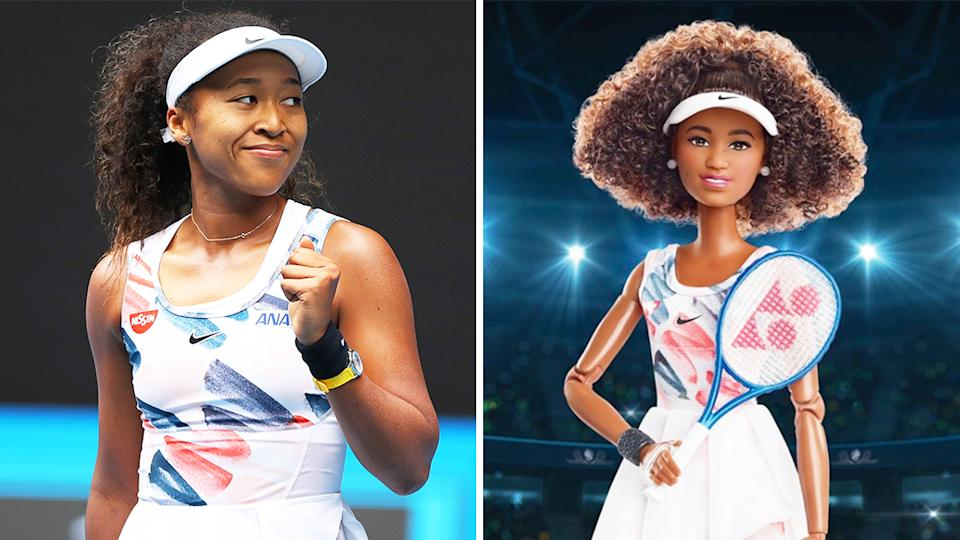 Naomi Osaka (pictured left) celebrating at the Australian Open and (pictured left) a Barbie doll designed after her.