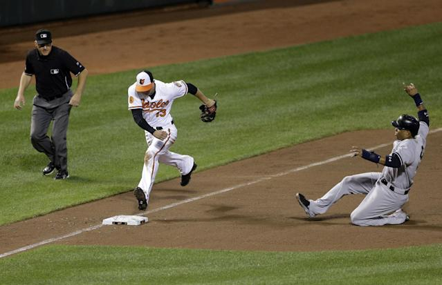 Baltimore Orioles third baseman Manny Machado dashes to third base to force out New York Yankees' Robinson Cano on a ground ball by Brendan Ryan as third base umpire Jeff Nelson watches in the third inning of a baseball game, Thursday, Sept. 12, 2013, in Baltimore. (AP Photo/Patrick Semansky)