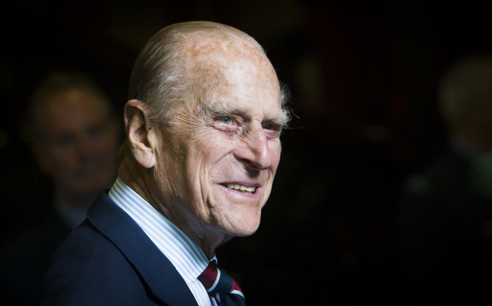 Prince Philip, Duke of Edinburgh smiles during a visit to the headquarters of the Royal Auxiliary Air Force