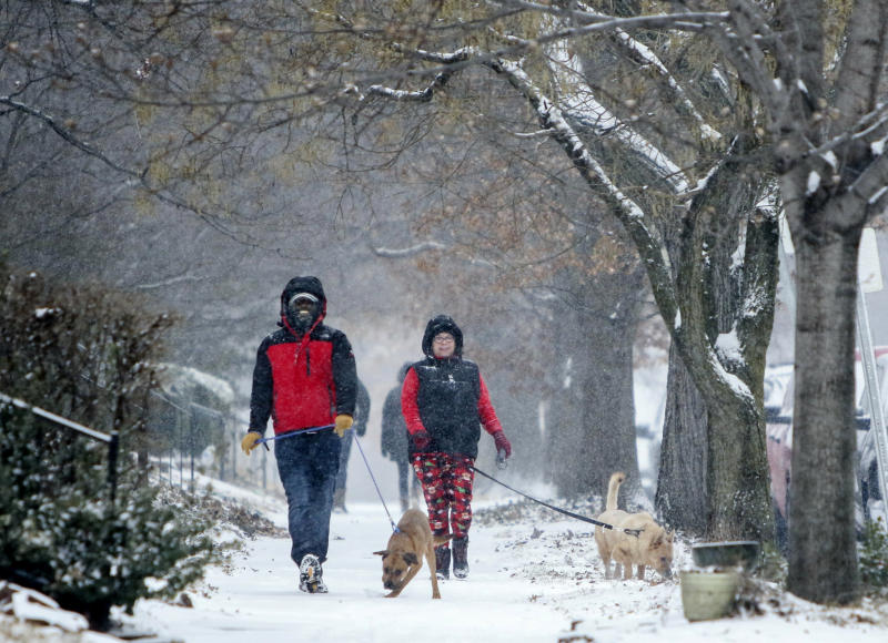 Kevin Britton, left, and his wife Amy Britton take their dogs for a walk through the snow on Sunday, March 3, 2019, in St. Louis, Mo. The National Weather Service is predicting two to four inches of snow with wind gusts up to 25 miles per hour through Sunday in the St. Louis area. (Colter Peterson/St. Louis Post-Dispatch via AP)