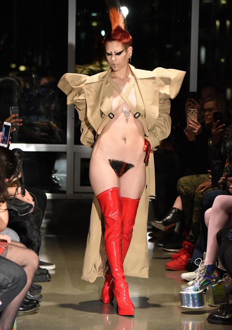 The models strutted their stuff in merkins. Photo: Getty Images