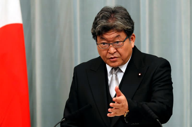 FILE PHOTO:Japan's Education, Culture, Sports, Science and Technology Minister Koichi Hagiuda speaks at a news conference in Tokyo