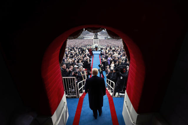 <p>President-elect Donald J. Trump arrive at the inauguration of Donald J. Trump at the United States Capitol on January 20, 2017 in Washington, DC. Donald J. Trump became the 45th president of the United States. (Doug Mills/Getty Images) </p>