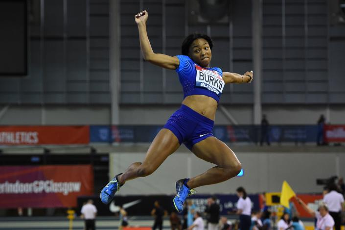 USA's Quanesha Burks competes in the women's long jump at the Glasgow Indoor Grand Prix athletics competition at the Emirates Arena in Glasgow on February 25, 2018. / Credit: ANDY BUCHANAN/AFP via Getty Images