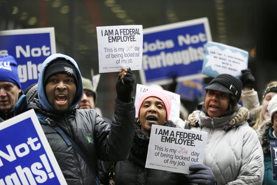 Government workers rally against the partial government shutdown at Federal Plaza, Thursday, Jan. 10, 2019, in Chicago. The partial government shutdown continues to drag on with hundreds of thousands of federal workers off the job or working without pay as the border wall fight persists. (Photo: Kiichiro Sato/AP)