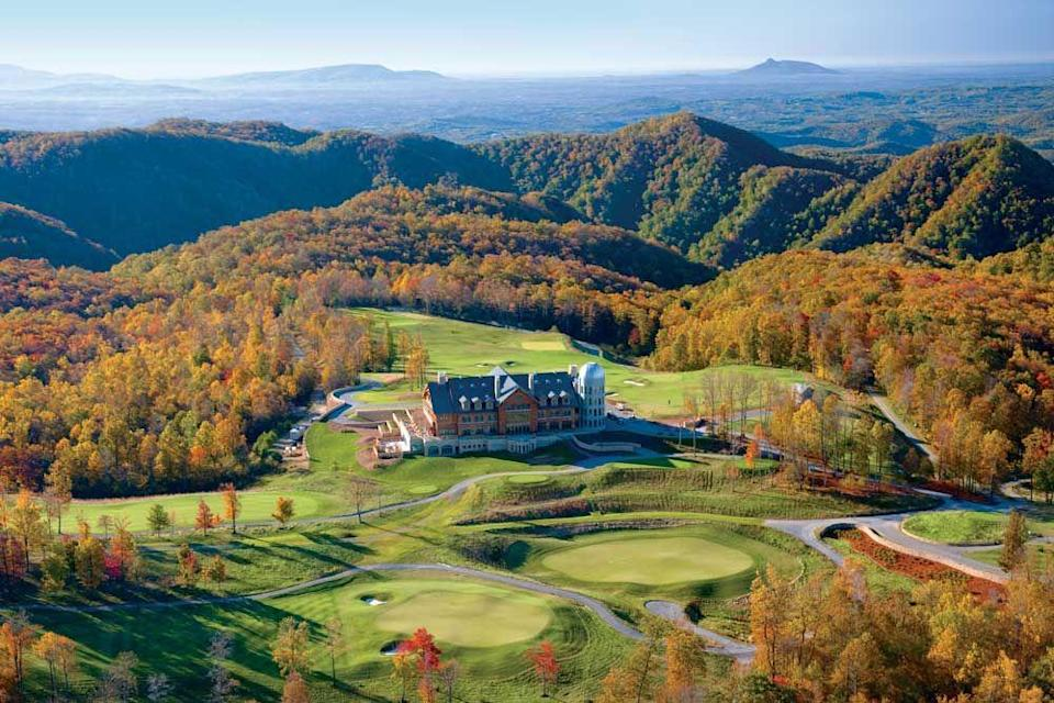 """<p>Another beautiful resort in the Blue Ridge Mountains, <a href=""""https://primland.com/"""" rel=""""nofollow noopener"""" target=""""_blank"""" data-ylk=""""slk:Primland"""" class=""""link rapid-noclick-resp"""">Primland</a> is a fabulous place to unwind, revel in the fall foliage, and enjoy a luxurious mountain retreat just two hours from Charlotte. This highly lauded resort is all about the experience, be it culinary, recreational, or golf, with a common thread of creating sustainable luxury at its best.</p><p>Guests can spend their time at the lodge, a cozy cottage, or a tree house during their time at Primland, all of which feature immaculate mountain views. The property is renowned for its food and beverage program, and you won't want to miss out on a trip to the Schlumberger Wine Cellar for an exclusive tasting, celebratory dinner, or extra-special happy hour. </p>"""