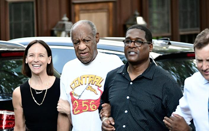 US actor Bill Cosby (2L) walks to briefly address the media with his attorney Jennifer Bonjean (L) and spokeman Andrew Wyatt (R) after he arrived home following the Pennsylvania Supreme Court's ruling throwing out Cosby's sexual assault conviction which is expected to result in his release from prison in Elkins Park, Pennsylvania, USA, 30 June 2021. Cosby has already served more than two years in prison following his conviction for assaulting Andrea Constand. Bill Cosby to be released after Pennsylvania Supreme Court threw out sexual assault conviction, Elkins Park, USA - BASTIAAN SLABBERS/EPA-EFE/Shutterstock