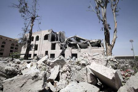The Yemeni Football Association building, which was damaged in a Saudi-led air strike, is seen in Sanaa May 31, 2015. REUTERS/Mohamed al-Sayaghi