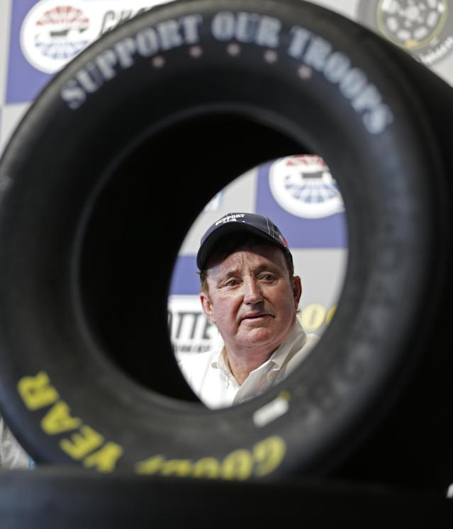 "Team owner Richard Childress answers a question during a news conference to announce the Goodyear Gives Back charitable program benefiting the ""Support Our Troops"" organization, at Charlotte Motor Speedway in Concord, N.C., Thursday, May 22, 2014. (AP Photo/Chuck Burton)"