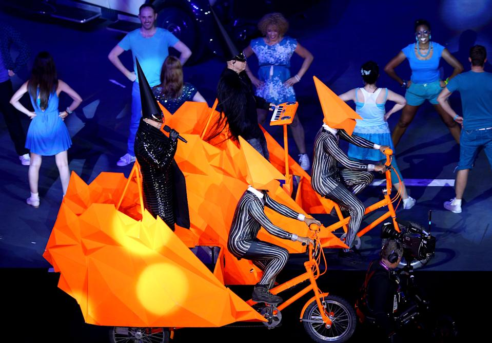 LONDON, ENGLAND - AUGUST 12: Neil Tennant (L) and Chris Lowe from The Pet Shop Boys perform during the Closing Ceremony on Day 16 of the London 2012 Olympic Games at Olympic Stadium on August 12, 2012 in London, England. (Photo by Clive Brunskill/Getty Images)